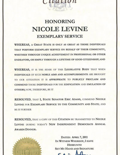State Senate Citation